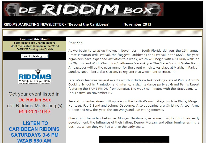 De Riddim Box November 2013