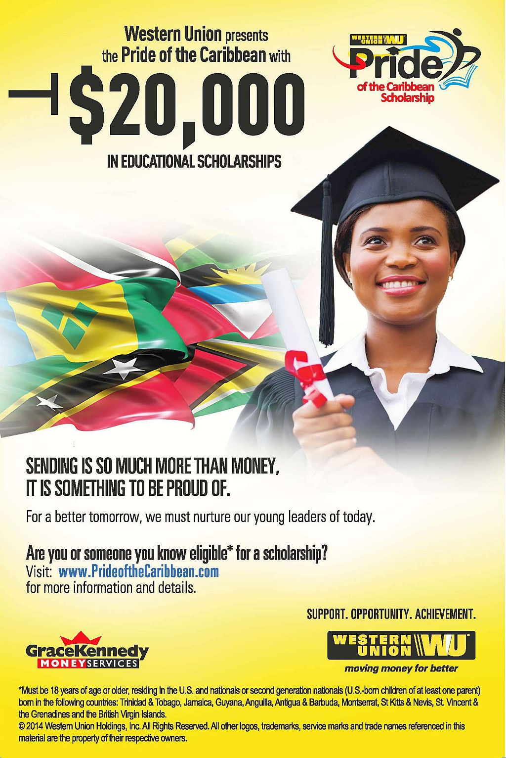 western union scholarships pride of caribbean